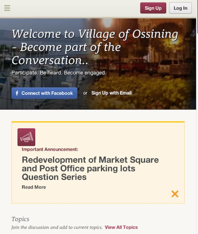 Village of Ossining officials recently launched a new website for residents to interact with each other regarding the future of the community.