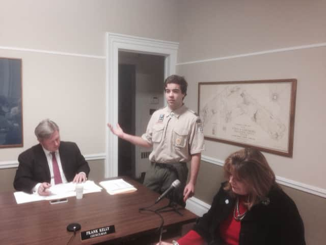 Vista's Don Moore speaks at Monday's Lewisboro Town Board meeting. Moore is preparing for his Eagle Scout project.