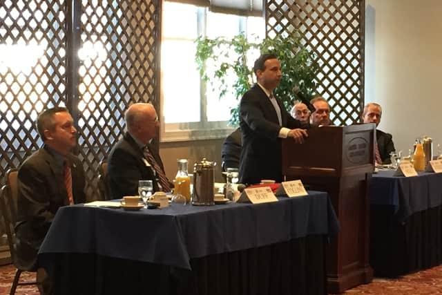 Sen. Bob Duff addresses the Greater Danbury Chamber of Commerce on state spending Tuesday.