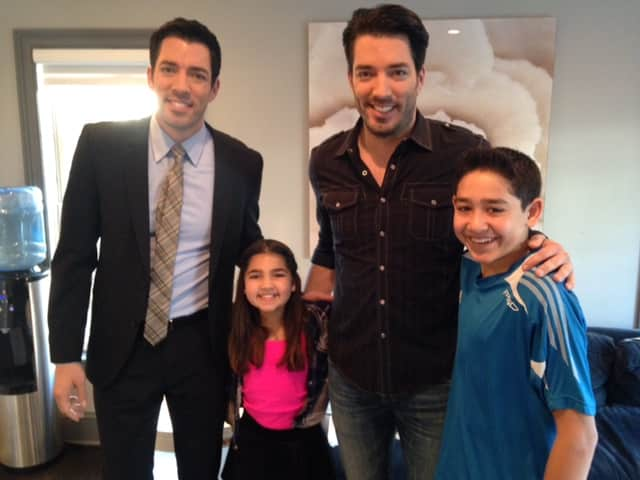 The Property Brothers with two of Saadia Sullivan's kids, Emma and Riley.