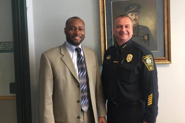 Noble Wray of Fair and Impartial Policing and Norwalk Police Chief Thomas Kulhawik.