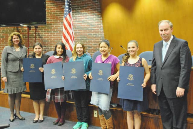First-place greater Danbury student essayists in National Women's History Month Essay Contest were honored on Mar. 23 in Danbury City Hall.