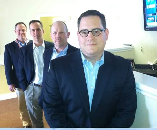 Vision Search Partners, from front, Pio Imperati, Richard Champagne, William Bardani and Matthew McMahon. The Wilton-based search firm has noticed that the economy has improved and job candidates are getting better offers.