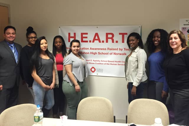 The students and facilitators of HEART, a group at Brien McMahon High School in Norwalk dedicated to teaching kids about substance abuse and healthy living.