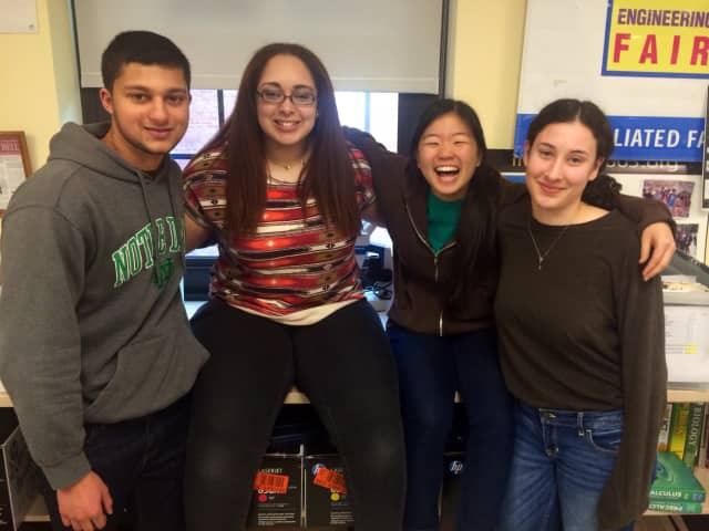 Ossining students (from left) Kiran Goveas, Kimberly Badger, Soon Il Higashino and Jen Meikle were selected for the Young Naturalist Award by the American Museum of Natural History.
