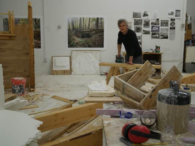 Multimedia artist Chris Larson in his studio.