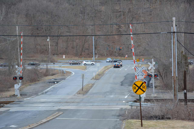 The grade-crossing intersection in Chappaqua, which includes Roaring Brook Road and an interchange for the Saw Mill River Parkway.