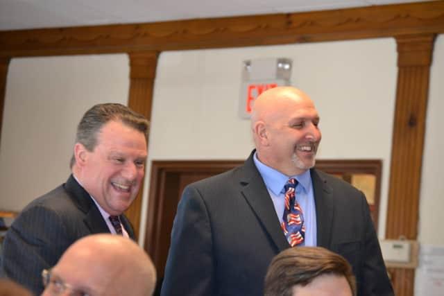 Yorktown Councilmen Gregory Bernard, right, and Tom Diana.