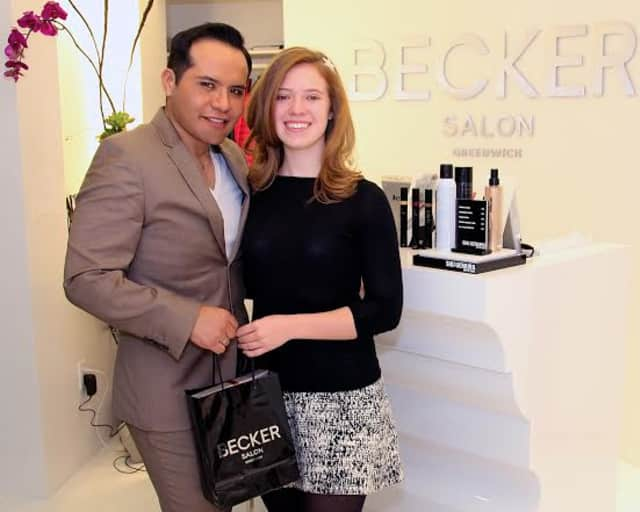 Becker Chicaiza of Becker Salon, left, with Mary Grace Henry of Reverse The Course, right, a 2015 Becker Salon Leadership Award recipient.