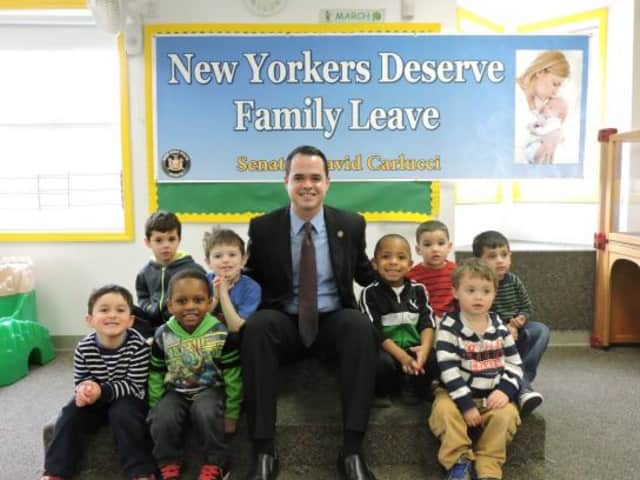 Sen. David Carlucci visited with children at the Just For Kids Daycare in Briarcliff Manor last week.