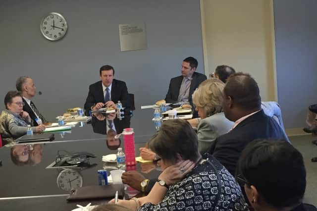 Sen. Chris Murphy sits with mental health professionals from around Fairfield County to discuss new legislation he is crafting to improve the country's mental health system.