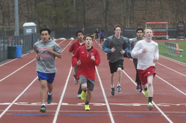 Greenwich High track team trains for the spring season at Cardinal Field.