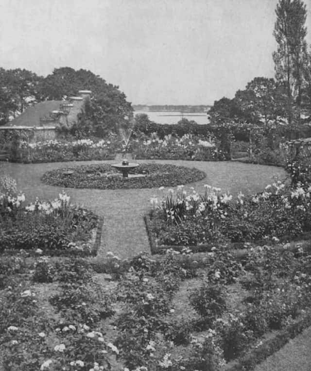 Image of the original Marian Cruger Coffin seaside garden design for the J. Kennedy Tod Estate from an article, House & Garden, March, 1920.