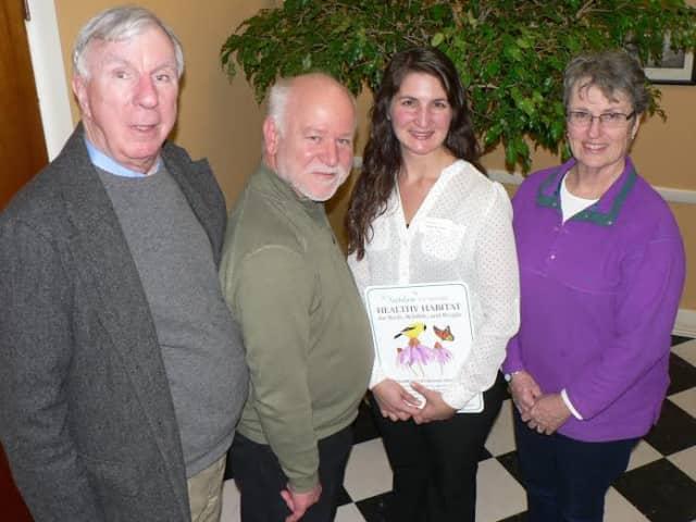 From L-R: John Moeling, president of the Norwalk Land Trust; Rob Frazier, environmental community activist; Katie Blake; and Betsy Bain, vice president of Rowayton Gardeners.