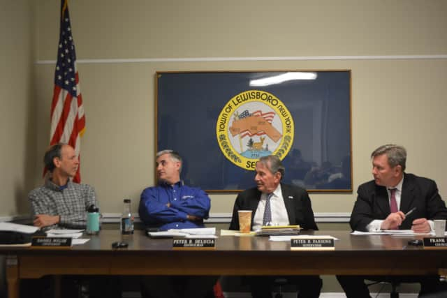 The Lewisboro Town Board at a March meeting.