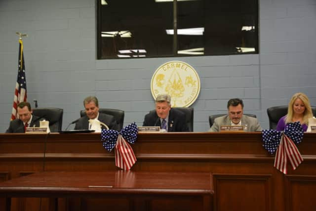 The Carmel Town Board, pictured at a previous meeting, will enter 2016 unchanged in its composition.