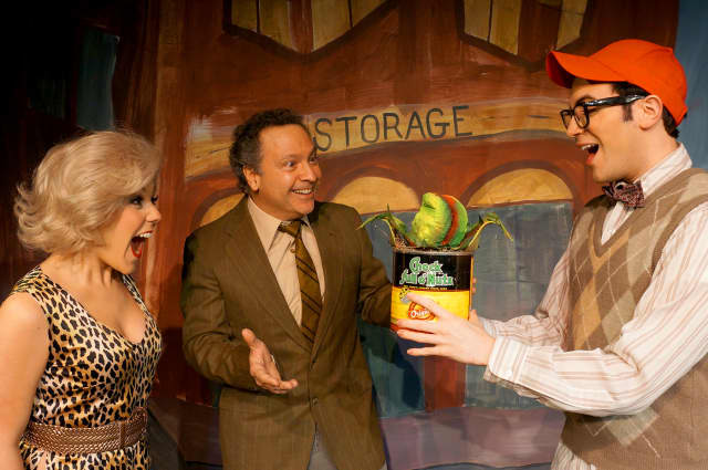 "Left to right: Elissa DeMaria, Lou Ursone and Anthony DiCostanzo in MTC MainStage's ""Little Shop of Horrors."""