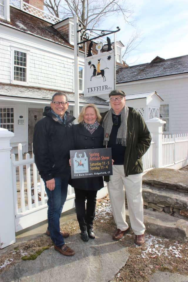 The Keeler Tavern Museum's 2nd Annual Spring Artisan Show will be April 24-25 on the museum's campus. It is curated by VS Shows' (L-R) Richard Vazzana and managed by the museum's program chair Hilary Micalizzi and board president Joel Third.