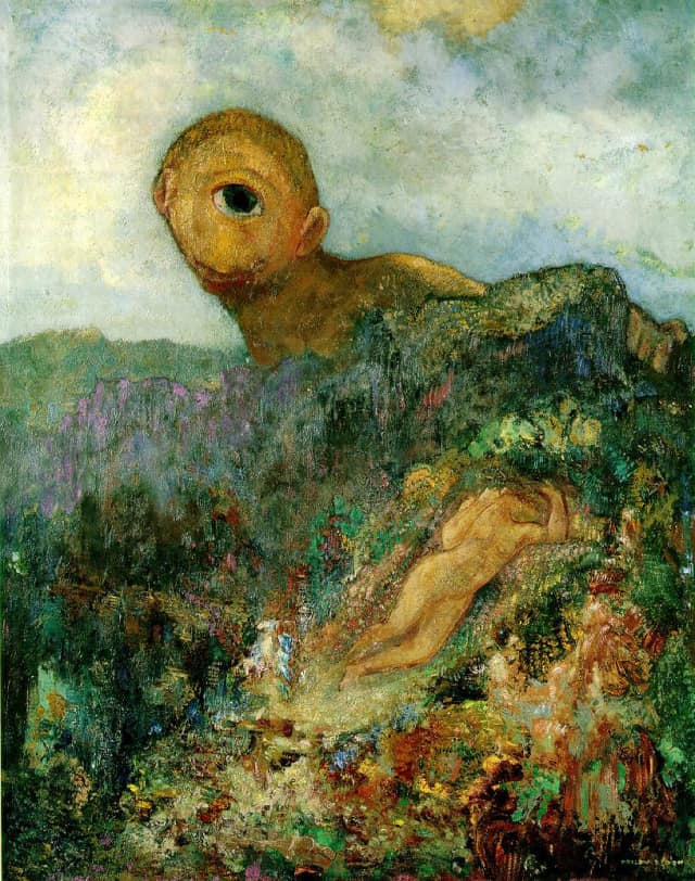 Odilon Redon - The Cyclops - c. 1914 - Oil on canvas - 64 x 51 cm - Museum Kroller-Mueller, Otterlo, The Netherlands.