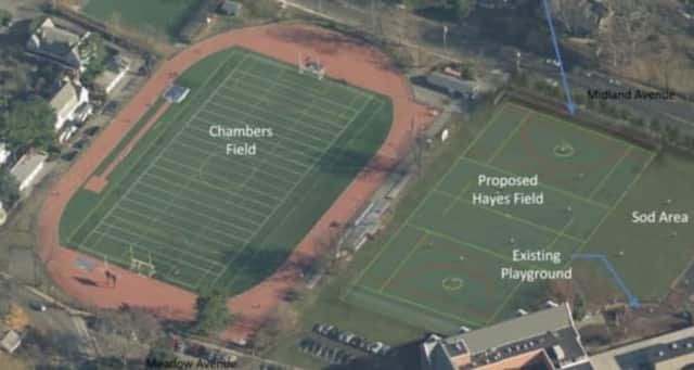 An overhead view of the new Bronxville Board of Education proposal for Hayes Field.