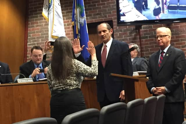 Joan Bielizna was sworn in as Danbury's new Town Clerk at Tuesday night's City Council meeting.