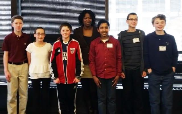 Blue Mountain Middle School team – James Reilly (grade 7), Vanessa Rossi (grade 6), Daniel Fitzmaurice (grade 6), Assistant Principal Anecia Bell-Jefferson, Adhithya Rajaseka (grade 7), Joseph DiBitetto (grade 8), and Sam Glasser (grade 8).