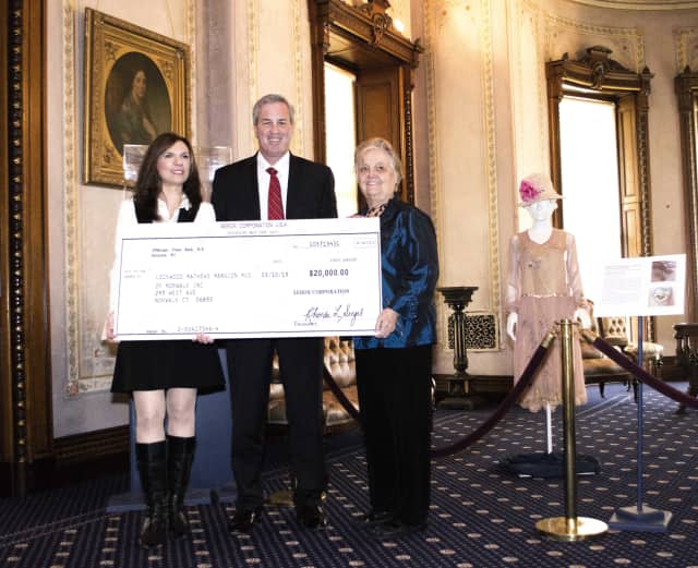 From left, Lockwood-Mathews Mansion Museum executive director Susan Gilgore, Mark Conlin, president, The Xerox Foundation, and LMMM chairman of the board Patsy Brescia.