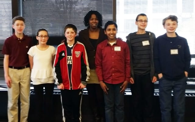 Blue Mountain Middle School team (l-r) – James Reilly (gr. 7), Vanessa Rossi (gr. 6), Daniel Fitzmaurice (gr. 6), Assistant Principal Anecia Bell-Jefferson, Adhithya Rajaseka (gr. 7), Joseph DiBitetto (gr. 8), and Sam Glasser (gr.8).