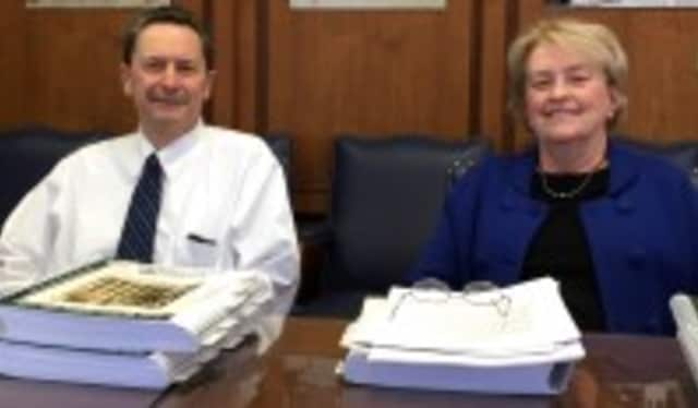 Michael Genito and Carolyn Mayo during the release of the 2015-16 proposed budget for White Plains.
