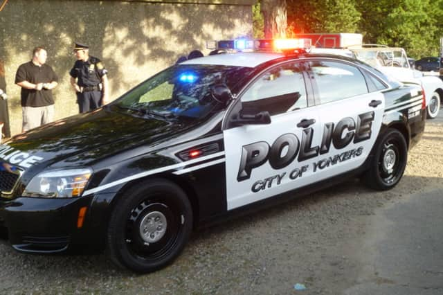 Two Yonkers police officers were injured in a Saturday afternoon accident after a Hummer crashed into their police cruiser.