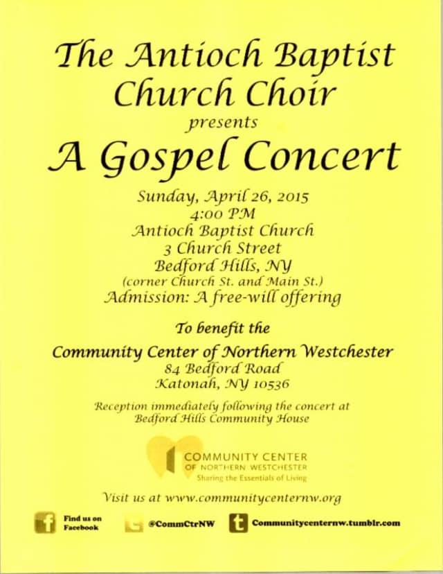 The Antioch Baptist Church Choir is hosting a gospel concert April 26.