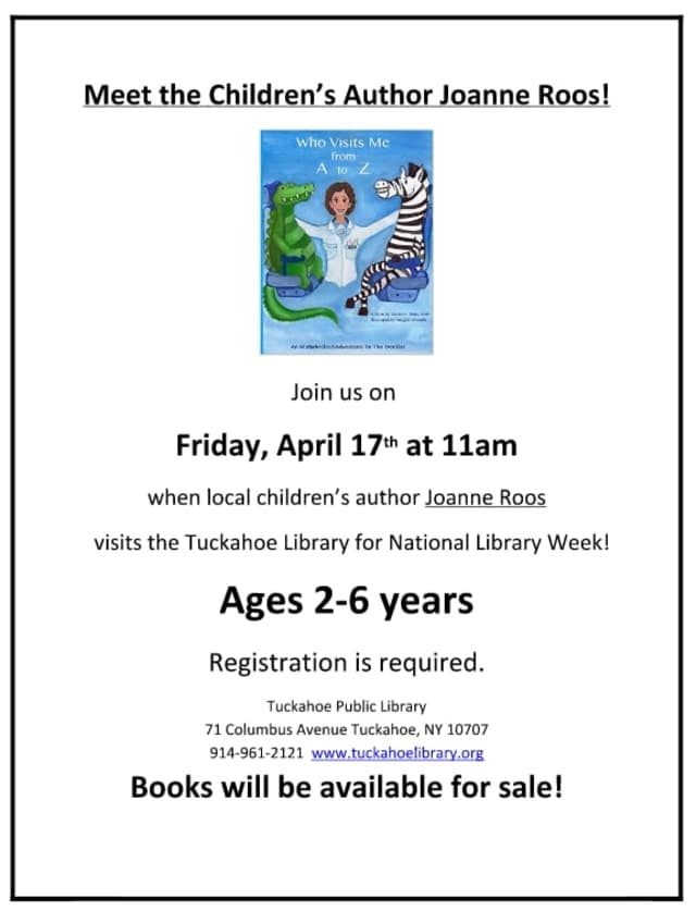 Local children's author Joanne Roos will visit the Tuckahoe Library April 17.