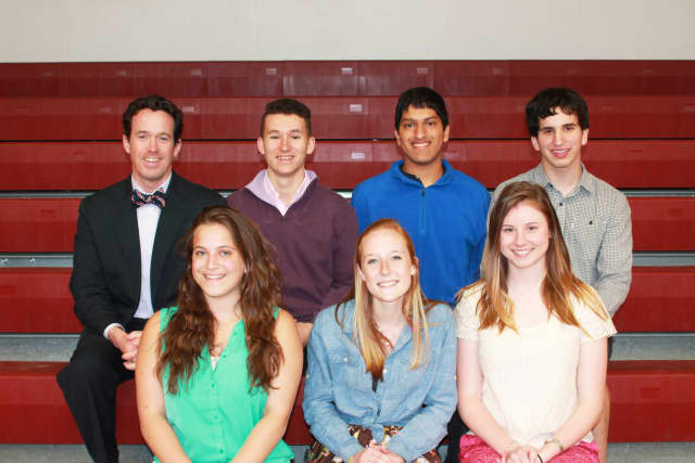 Front row, from left: Wooster School 11th graders Anna Krzyzewski, Jamie MacNutt, and Elizabeth Ashton. Back row: Head of School Matt Byrnes, and 11th graders Cole Munk, Jeb Perera, and Aaron Young.