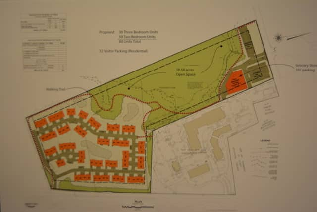 A photo of the developer's proposed site plan for Somers Crossing.