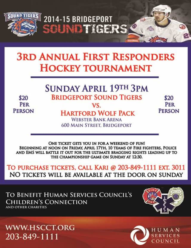 The third annual First Responders Hockey Tournament in Bridgeport will benefit the Human Services Council's Children's Connection, the Kevin L. Bell Memorial Fund and Heroes for Hope.