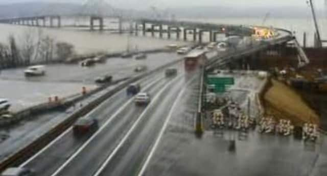 A look at conditions at the Tappan Zee Bridge road barrier.
