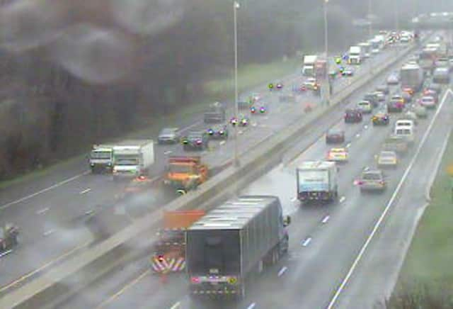 Heavy rain is causing ponding on I-95 near the Darien rest area on Monday morning.
