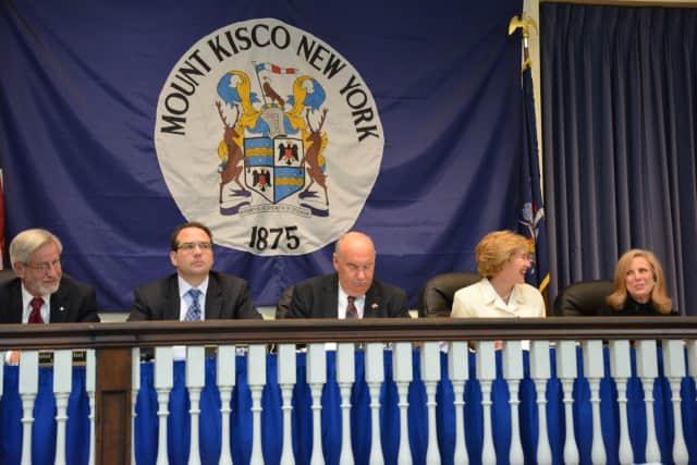 Mount Kisco Village Board members at their April 20 meeting.