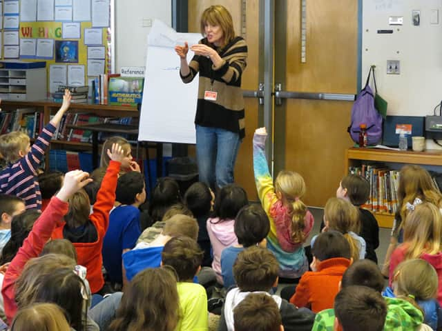 Children's book author Kate Klise visited Meadow Pond Elementary School.