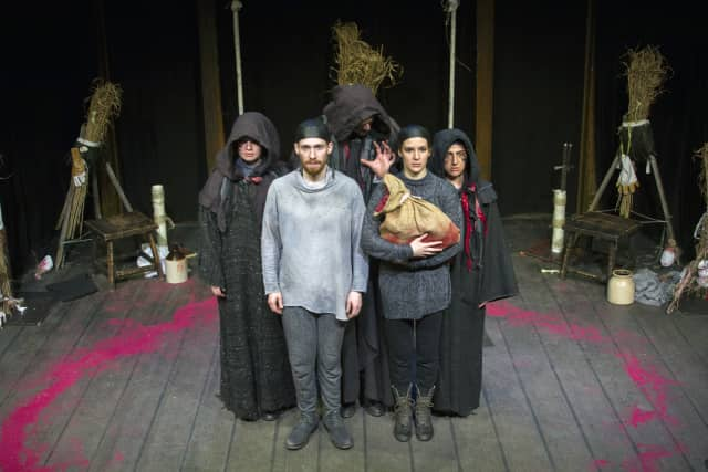 """Five members of the Hudson Valley Shakespeare Festival recently performed """"Macbeth"""" for students at Hendrick Hudson High School in Montrose."""