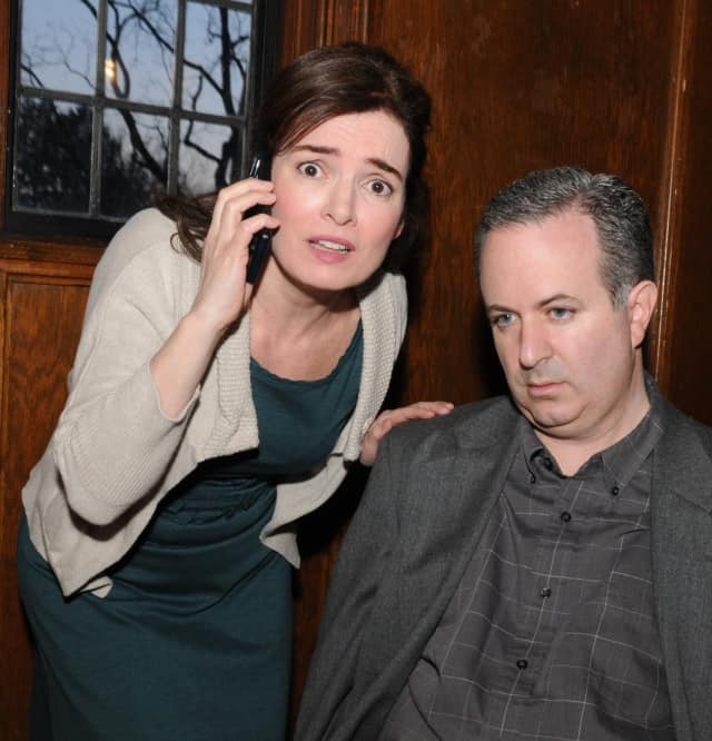 """Siobhan McKinley and Michael Boyle are cast members in the Axial Theatre of Pleasantville's spring production, the award-winning satirical comedy, """"Dead Man's Cell Phone."""""""