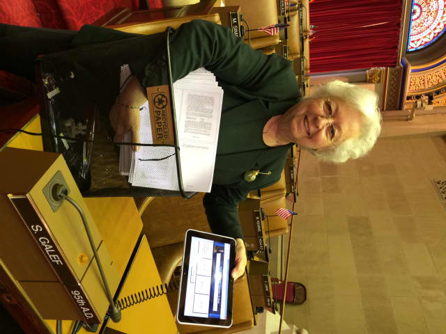 Assemblywoman Galef with an electronic tablet.