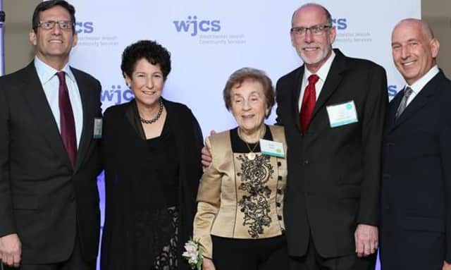 From left, Barry Kaplan, Karen Blumenthal, Emily Grant, Alan Trager, and Bernie Kimberg at a recent Westchester Jewish Community Services gala held in Harrison.