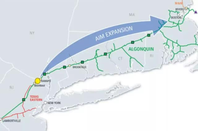 A screen shot of the map for Spectra Energy's Algonquin Pipeline expansion proposal.