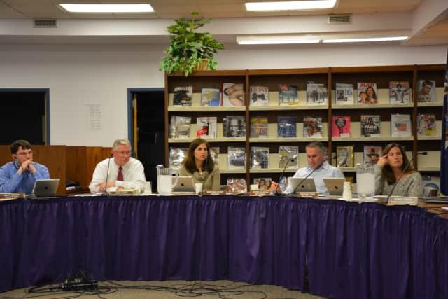 Katonah-Lewisboro school board members at their April 21 meeting.