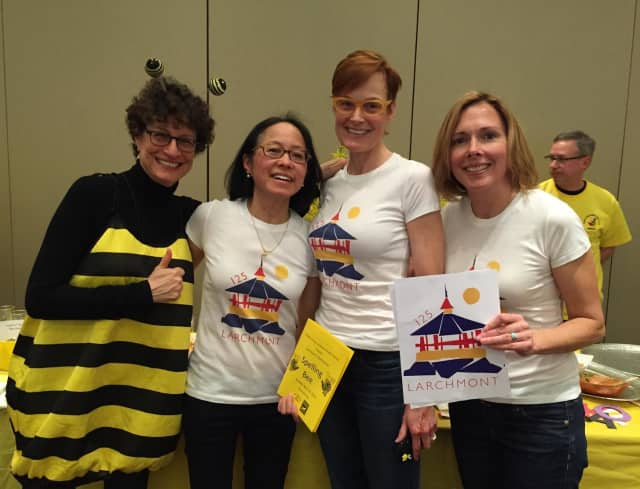 "From left, ""Friendly"" Bee, Amy Ralston Seife, welcomed the ""Quasqui Bees,"" members of the Larchmont 125 celebration committee Carmen White, Kitty Shirley, and Carey Federspiel."