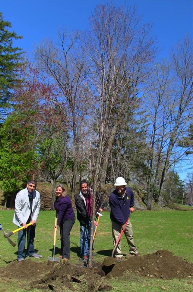 From left, Hudson Valley Gateway Chamber of Commerce board members Kish Melwani and Jane Solnick, Peekskill Parks Advisory Board member Andrew Torres and Almstead Tree and Shrub Care's Russell Wagner.
