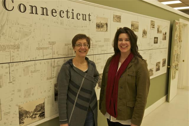 Executive Director Brigid Guertin (right) and Research Specialist Diane Hassan at the Danbury Museum & Historical Society.