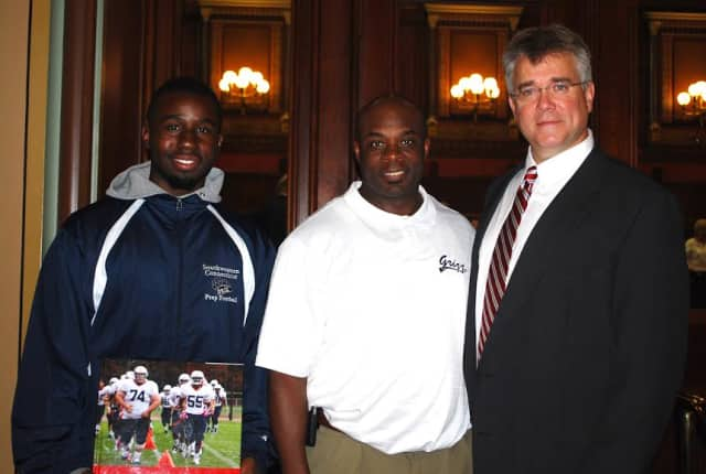 State Rep. John Shaban with members of the Connecticut Grizzlies after their a College Tour.