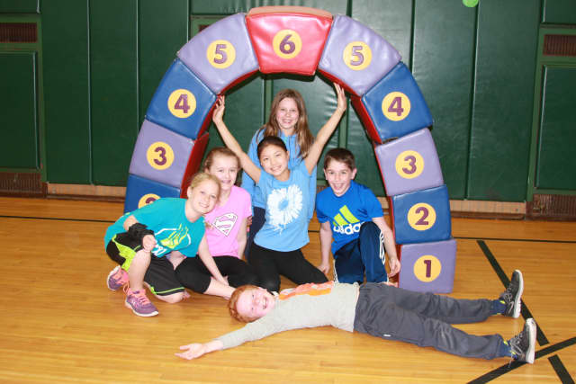 From left, Laura Kisken, Caroline Mancini, Rachael Huang, Max Reber, (back) Lily Voigt, and (front) Griffin Cassady.